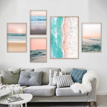 Rustic Landscape Blush Pink Beach Ocean Wall Art Canvas Painting Nordic Posters and Prints Pictures for Living Room Decor