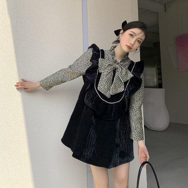 LANMREM Black Beige Big Flower Dress Half High Neck Bow Decoration High Waist Printed Cute Dresses Female 2021 New 2A8015 4