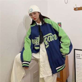 Oversized Baseball Uniform Punk Clothes Spring Harajuku Korean Loose Academy BF Hong Kong Contrast Corduroy Jacket Women Jackets 1