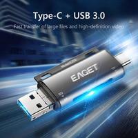 EAGET-lector de tarjetas EZ08, USB 3,0 tipo C a SD, microSD, adaptador TF, OTG, tarjetas de memoria SD inteligentes para accesorios de ordenador portátil