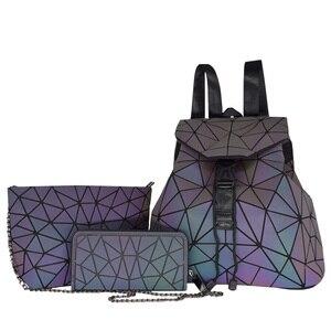 Image 5 - Bao Mochila con cordón luminoso para mujer, morral diario con geometría, mochilas escolares plegables para adolescentes