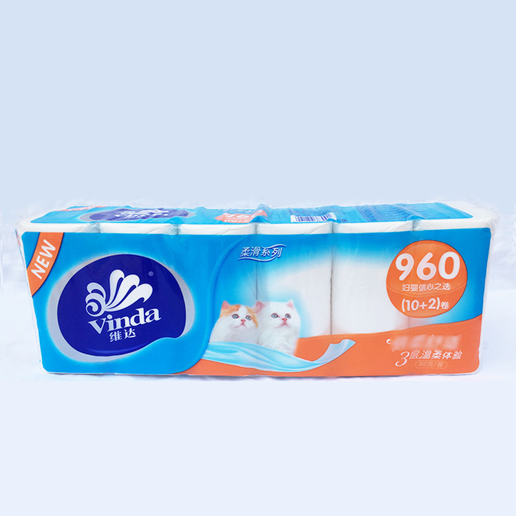 Vinda Toilet Paper 960G Silky Series Roll Paper Maternal And Infant Paper Comfortable 3-Tier Gentle Experience Family Toilet Pap
