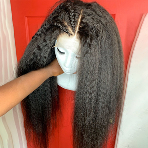 Kinky Straight Wig 200% Lace Front Human Hair Wigs For Women Black Color Remy Brazilian Wigs Plucked Bleached Knots Slove Hair(China)