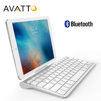 AVATTO Ultra Slim Bluetooth Wireless Tablet Tastatur mit Ständer Halter ,78 Schlüssel für Tablet, ipad, iphone, desktop, Laptop ,PC