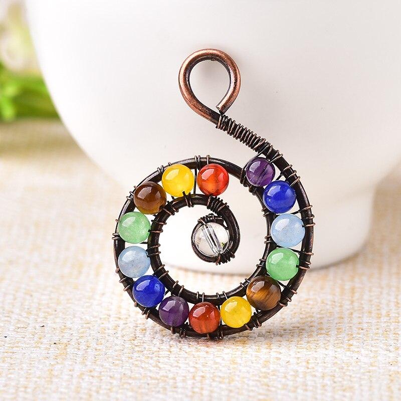 1 шт., Модный кулон из натурального камня, разноцветный аметист, рейки, спиральные минеральные ювелирные изделия, чакра, энергетический квар...