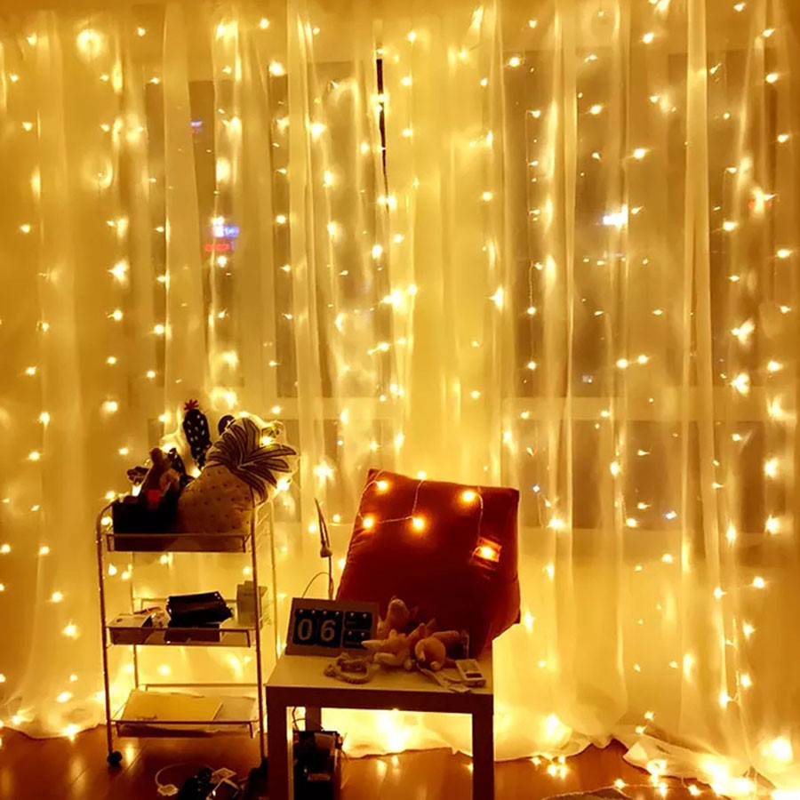 Thrisdar 3x1m/3x2m/3x3m/6x3m LED Curtain Icicle String Light Christmas Wedding Party Bar Fairy Window LED String Garland Light