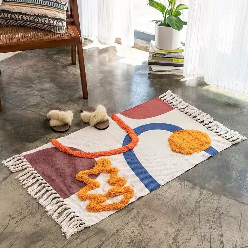 60X90CM Nordic Style Floor Rug Carpet Home Decoration Handmade Cotton With Tassels Carpet Bedroom Rug High Quality INS Rugs