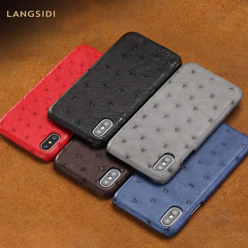 De luxe En Cuir D'autruche Véritable apple téléphone étui pour iphone 11 11 Pro Max X XS Max XR 8 6 6s 7plus 8 plus 5s se 5 de couverture des Entreprises