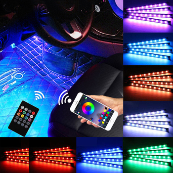 LED Car Interior Atmosphere Foot Light Ambient Lamp With USB Wireless Remote Music Control Multiple Modes Automotive Decorative carctr new led usb car atmosphere light dj rgb mini colorful music sound control lamp interior car decorative lamp ambient light