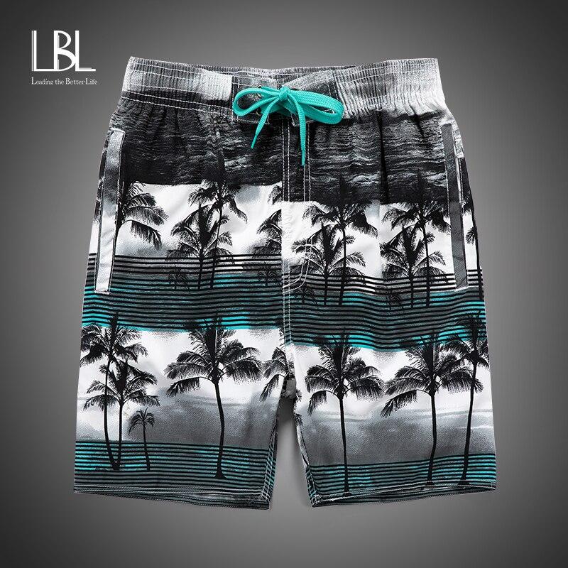 Summer Casual Shorts Men Short Elastic Waist Trousers Male Fashion Flowers Hawaii Island Print Straight Short Beach Mens Shorts