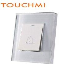 TOUCHMI – interrupteur mural en verre cristal blanc, normes EU/UK, Certification CE, bouton poussoir, sonnette, cadre en verre