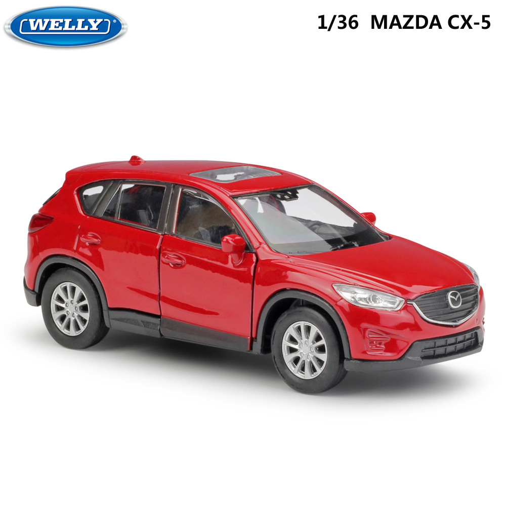 WELLY Diecast 1:36 Scale Similator Toy Vehicle MAZDA CX-5 Model Car Pull Back Alloy Car Metal Toy Car For Kids Gifts Collection