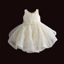 Baby Girl Clothes 1st Birthday Girls Tutu Dress Pearl Belt Baptism Evening Party Gown Princess Kids Dresses for Girl 6 12 18 36M