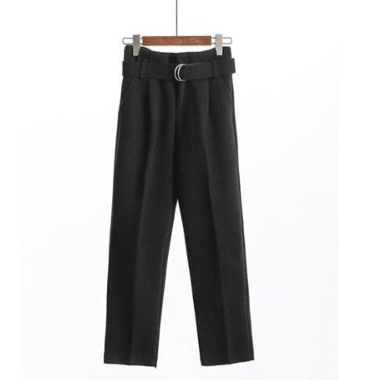 Neploe kore sonbahar kış yün pantolon kadın yeni yüksek ince bel kemerli Harem zarif pantolon moda ayak bileği uzunlukta pantolon 55431