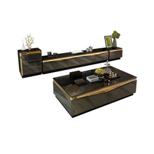 TV Stand modern Living Room TV monitor stand mueble stalinite gold stainless steel cabinet mesa+tv table+Coffee centro Table