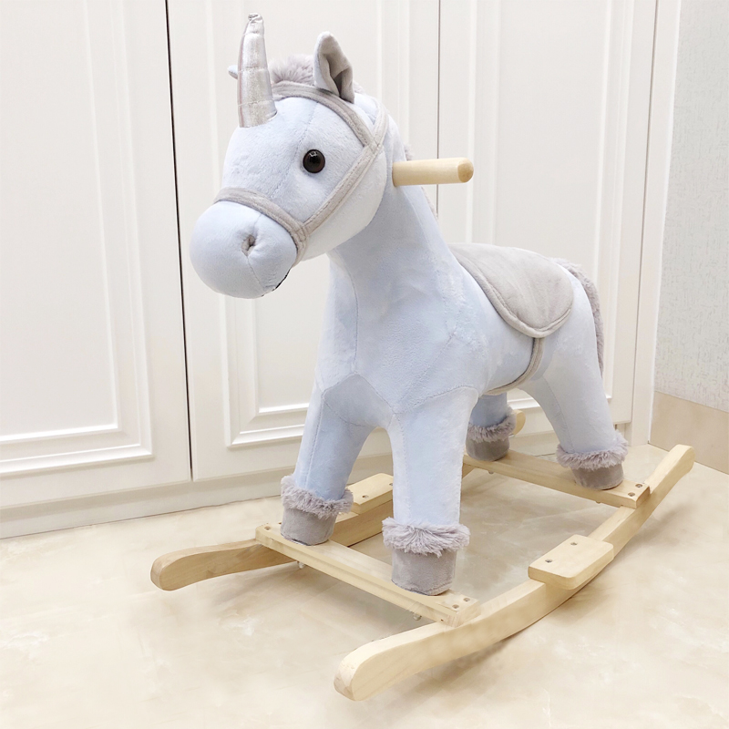 Unicorn Trojan With Music Rocking Chair Children's Educational Toys Solid Wood Rocking Horse Kids Furniture Chair For Kids