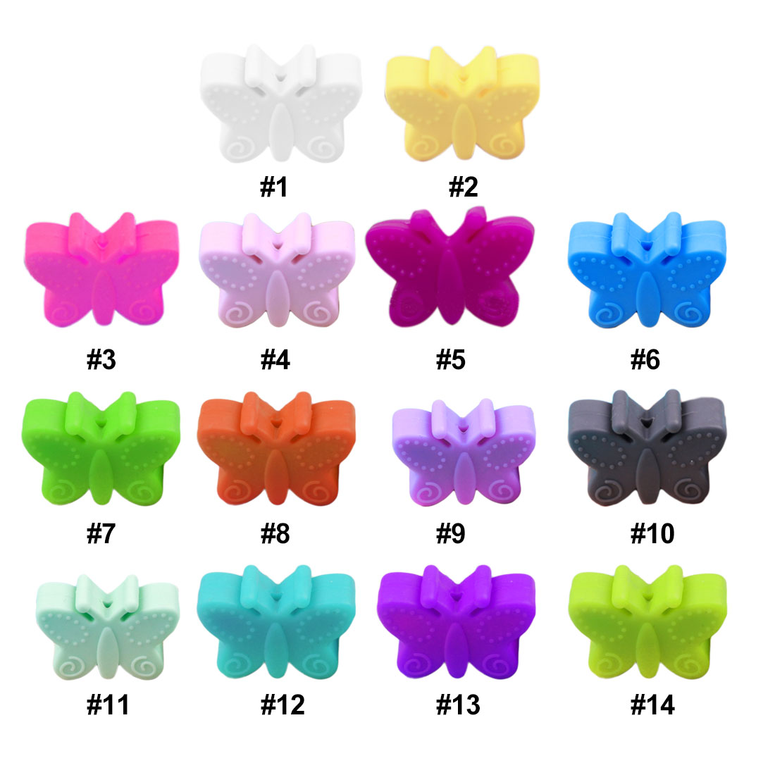 5PC/lot Mini Butterfly  Silicone Beads Pearl Silicone Food Grade Teething Beads DIY BPA Free Jewelry Baby Teether Pacifier Chain
