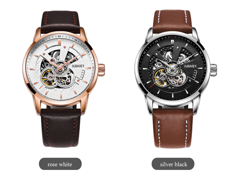 Leather Strap Watches Mens 2021 OUBAOER Sports Watch