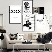 Moda coco citações poster impressão flor mulher perfume pintura da lona parede moderna na moda fotos para sala de estar decoração casa