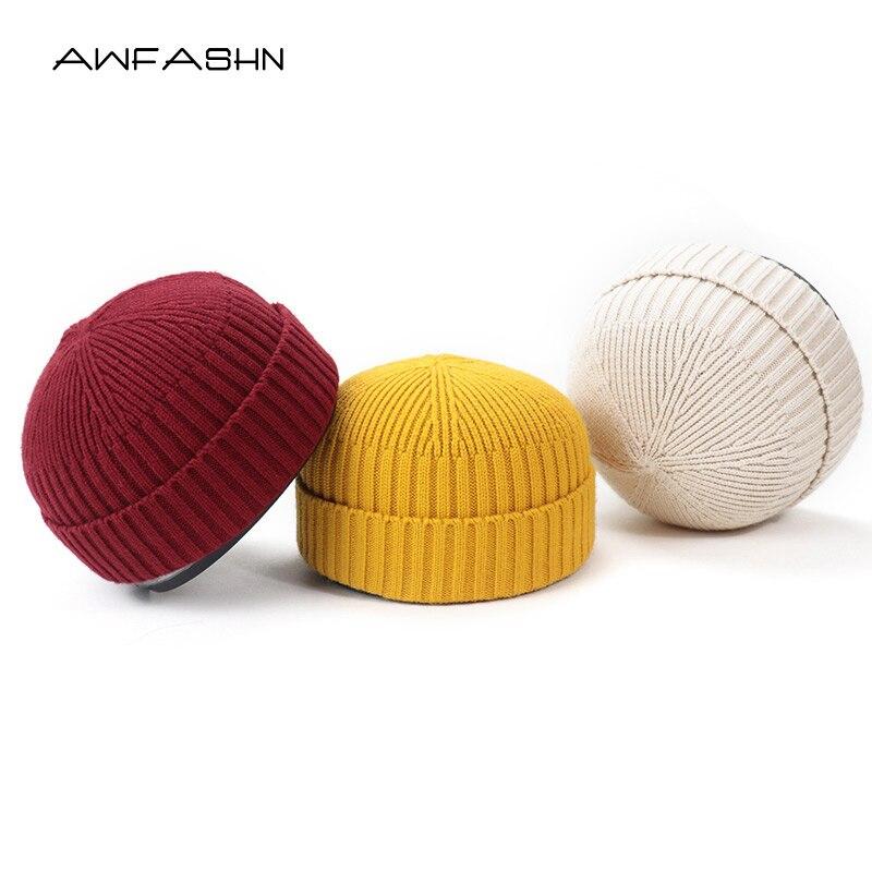 Hot Autumn Winter Knitted Hats For Women SkullCap Men Beanie Hat Retro Brimless Baggy Melon Cap Cuff Docker Fisherman Beanies