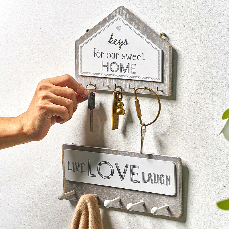 Wall Hanging Wood Key Hanger Holder Wall Organizer Rectangle House Shape Key Rack Hooks Coat Hooks Home Decoration Coat Hanger