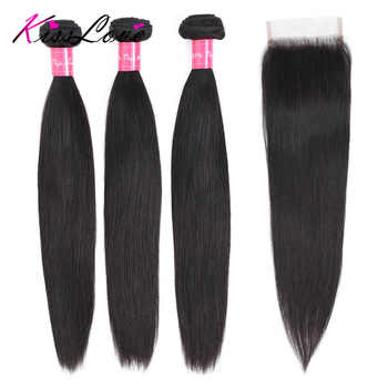 Straight Hair Bundles with Closure Remy Human Hair Bundles with Closure Brazilian Hair Weave Bundles kiss Love - DISCOUNT ITEM  49% OFF All Category