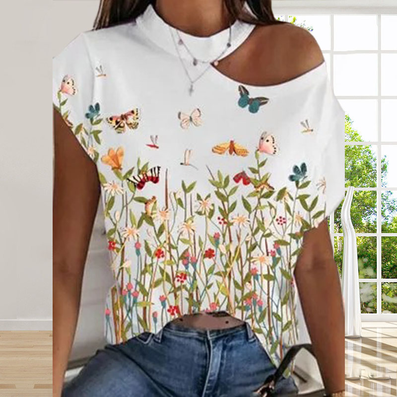 Summer Loose Short-sleeved Print Casual Pullover Round Neck Strapless T-shirt Personalized Ladies Print Tops Plus Size 3 Colors