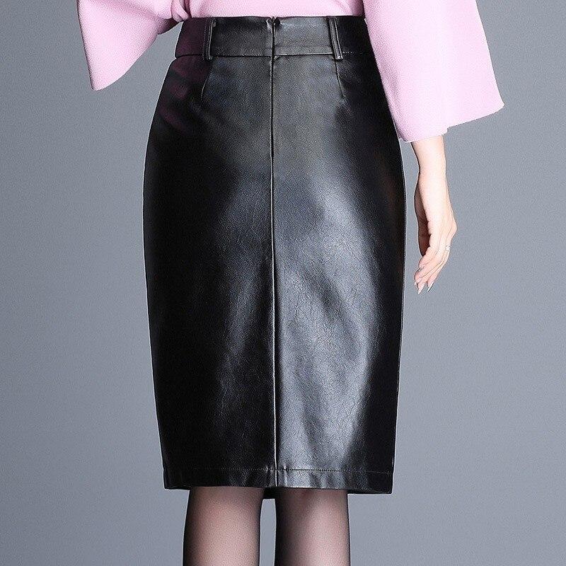 Women PU Faux Leather Skirts New Winter Split Knee-Length Skirts Office Lady Zipper Straight High Waist Work Skirts Fashion Slim