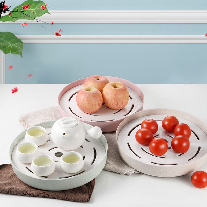 Japanese Style Creative Drain Wheat Straw Multifunctional Double Tray Portable Plastic Rack Kitchen Tea