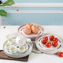 Japanese Style Creative Drain Wheat Straw Multifunctional Double Tray Portable Plastic Rack Kitchen Tea