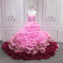 Rosa quinceanera vestidos querida plissado tule baile vestidos de baile frisado faixas doce 16 vestidos de festa 15 anos