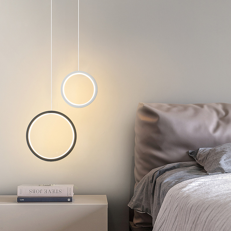 2019 New Round Circle LED Pendant Lights For Modern Dining Room Bedroom Bedside Bar White/black Color Hanging Lamp Decor Fixture