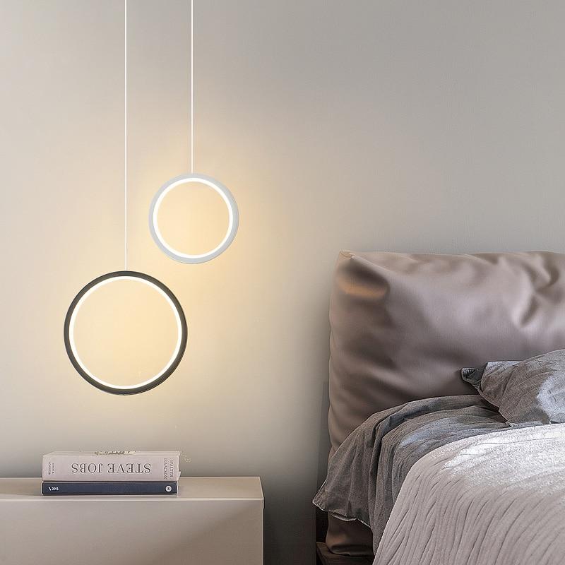 2019 New Round Circle LED Pendant Lights For Modern Dining Room Bedroom Bedside Bar White/black Color Hanging Lamp Decor Fixture