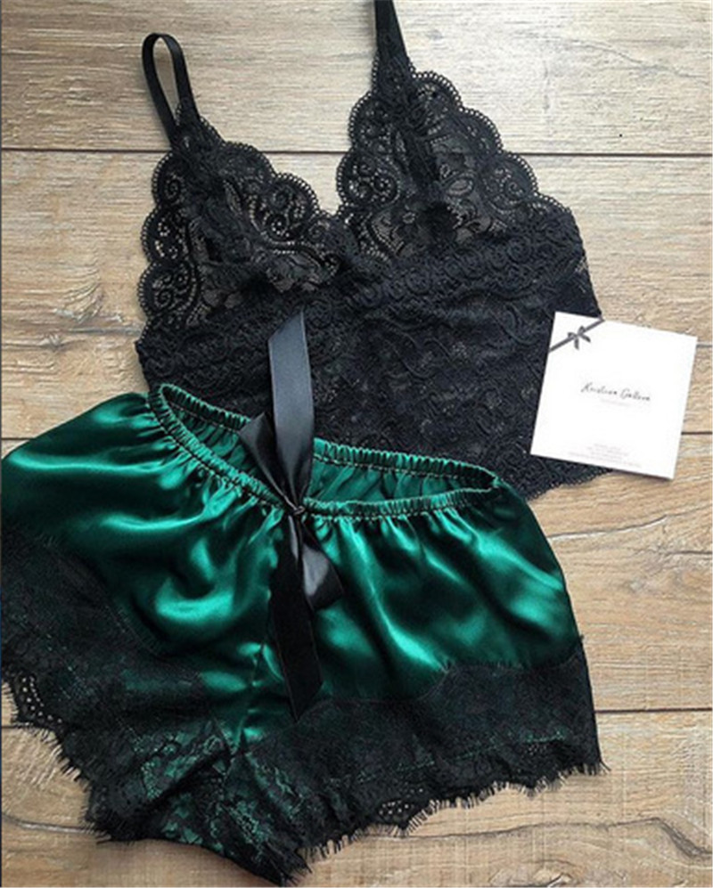 New Sexy Lace Floral Women Pajama Set V-neck Strap Bra Babydoll Silk Thin Shorts Section Lingerie Blackless Fashion Pyjamas