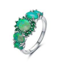 Женские шикарные ювелирные изделия зеленые Свадебные обручальные