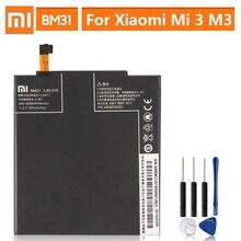 Bateria de substituição original para xiaomi mi 3 m3 mi3 bm31 telefone genuíno bateria 3050mah