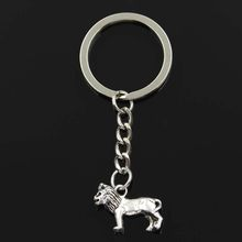 Fashion Keychain 23x15mm lion Silver Bronze pendants DIY Men Jewelry Car Key Chain Ring Holder Souvenir For Gift(China)