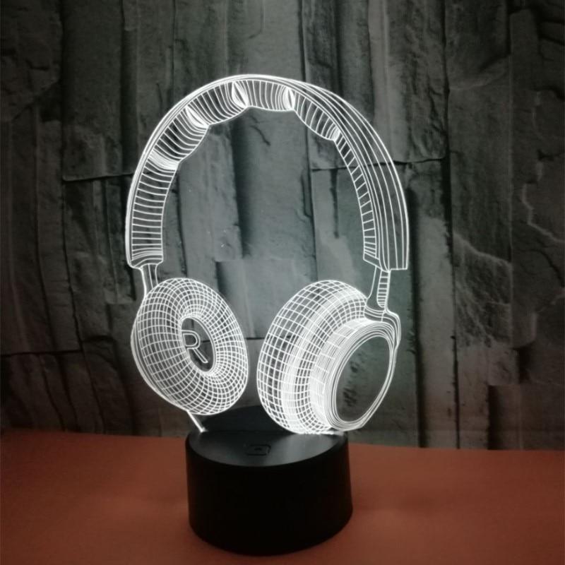 Красочный пресс 3D лампа Иллюзия светодиодный ночной Светильник USB настольная лампа для детей подарок для детей прикроватная Спальня наушни...