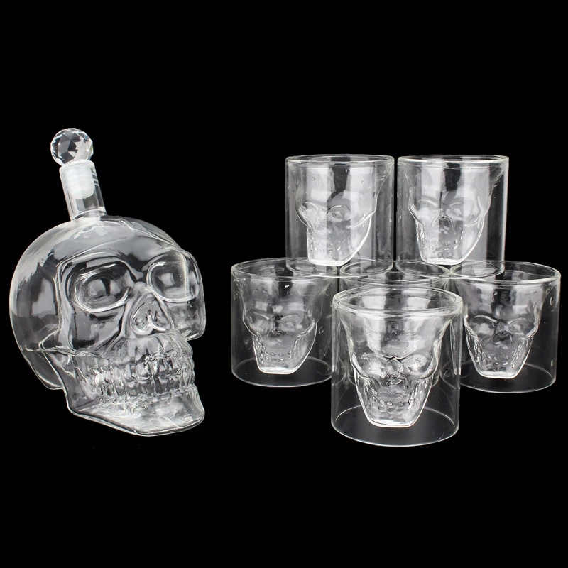 7PCS Skull Decanter Mug Funny Wine Cup Transparent Glasses Tableware Crystal Decanter With Head Shot Glasses Mugs for Whiskey