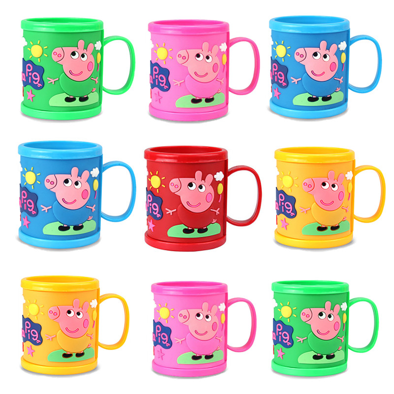 Peppa Pig Girl Anime Cartoon Character Pattern Toothbrush Cup Water Cup Pink Piggy Girl Toy Child Birthday Christmas Gift image