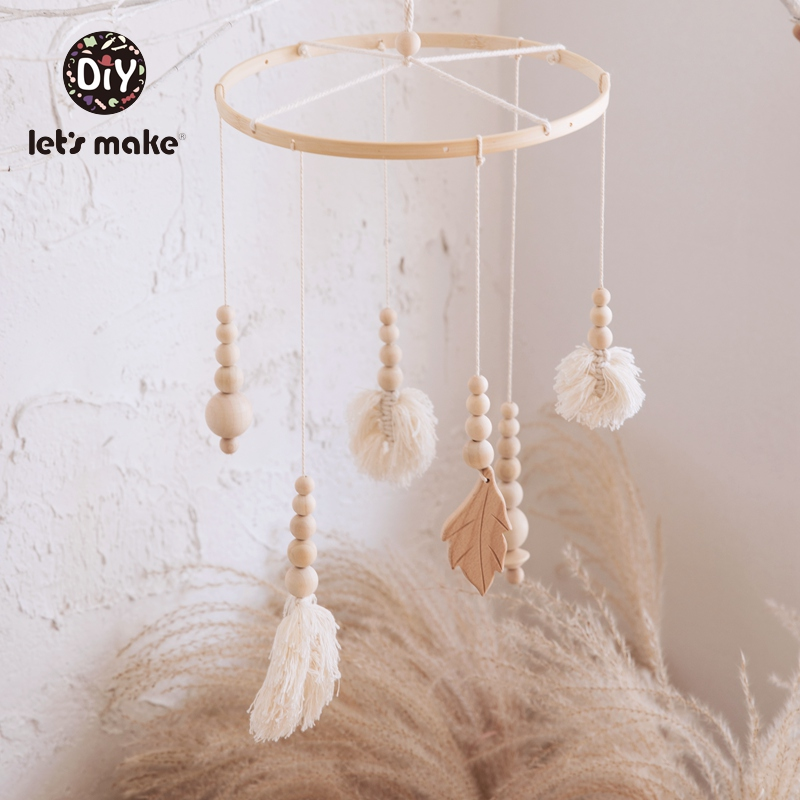 Let's Make Baby Toys Mobile On The Bed Tassel Leaves Knitting Developmental Educational Dreamcatcher Soft Rattles For Newborns