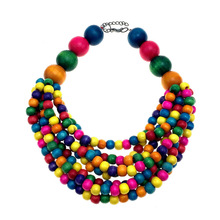 Bohemian Multilayer Necklaces for Women Handmade Bead Necklace Wooden Bead Choker Statement Necklace Necklace Wood flower bead teardrop choker necklace
