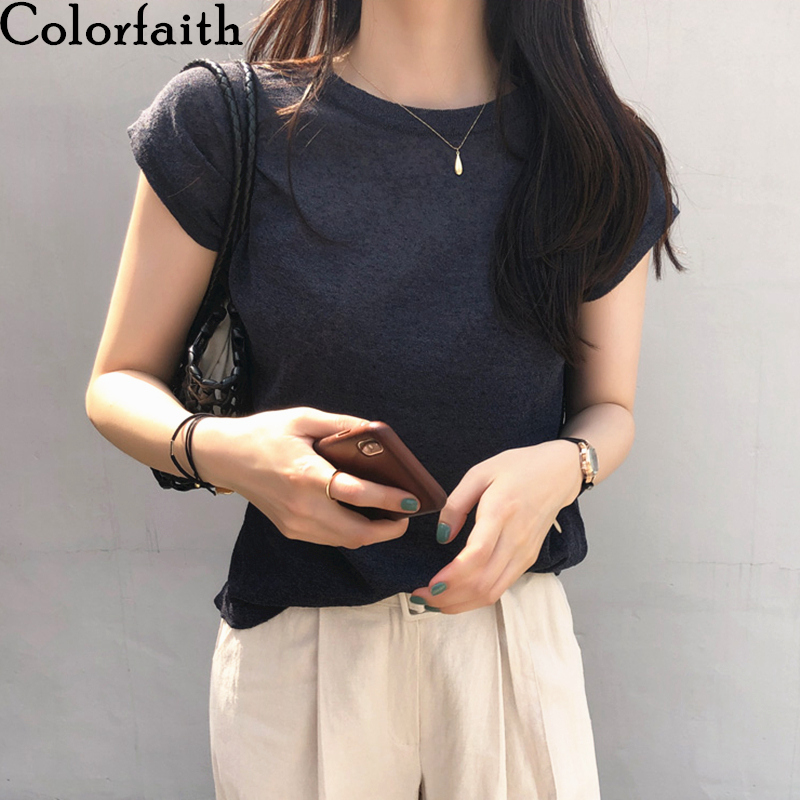 Colorfaith New 2020 Women T-shirt Spring Summer Solid Korean Style T-Shirts Bottoming Casual Tee O-neck Loose Top Tshirts T1407