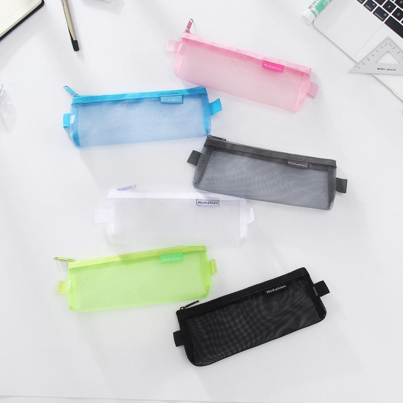Fashion Transparent Mesh Zipper Mini Cosmetic Bag Portable Travel Makeup Storage Purse Cosmetic Organizer Tools Wash Bag