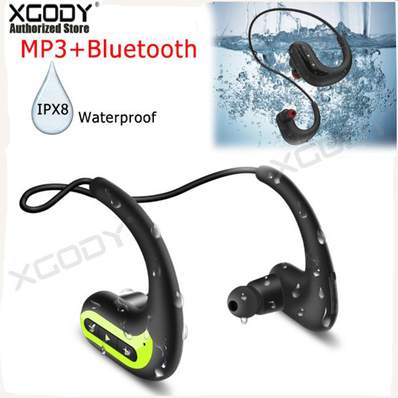 XGODY Wireless Earphones IPX8 S1200 Waterproof Swimming Headphone Sports Earbuds Bluetooth Headset Stereo 8G MP3 Player