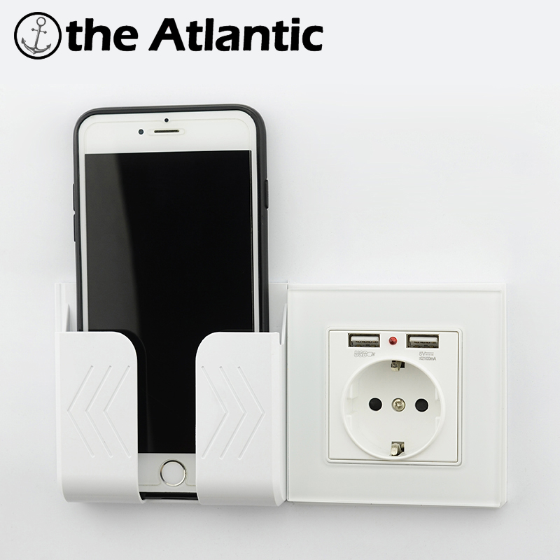Wall Socket Power 16A EU Standard Outlet With 2A Dual USB Charger Port For Mobile Phone Tempered Glass White USB Socket Power