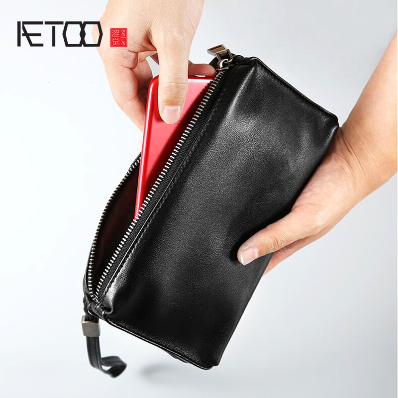 AETOO Leather Long Zipper Wallet Handbag Grab Bag Leather Casual Men's Leather Bag Retro Hand Bag
