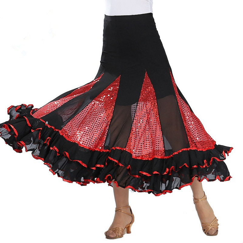 Women Sequined Modern Dance Competition Skirt Waltz Dance Show Skirt Ballroom Dance Practice Wear Women Dance Costume