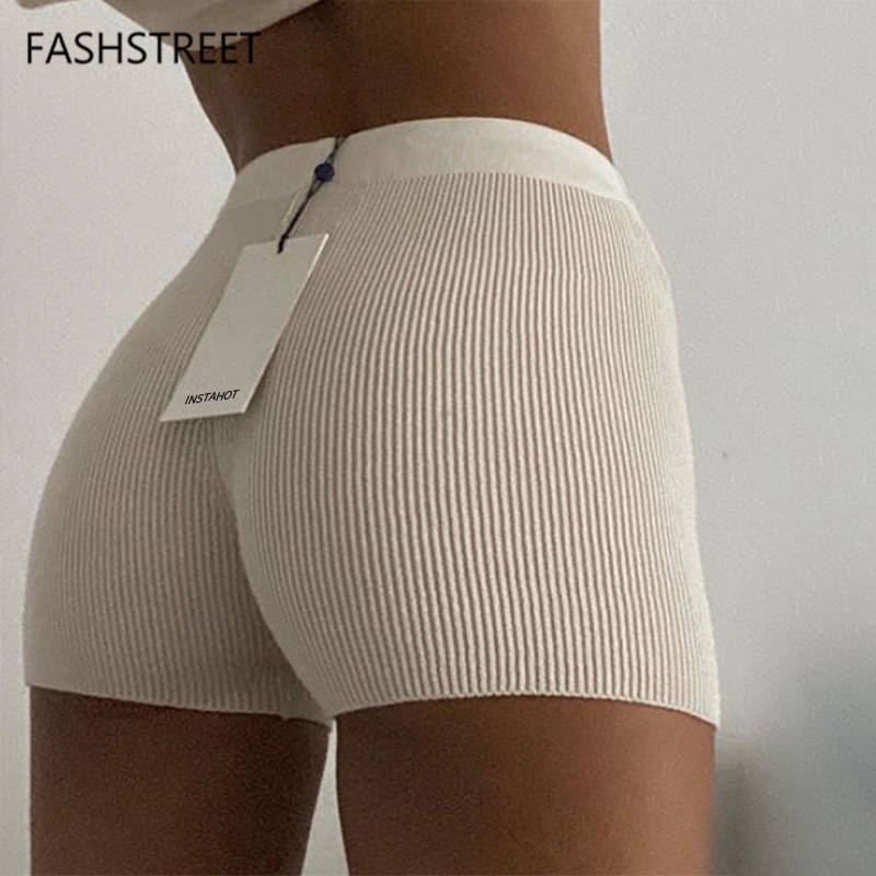 FASHSTREET Fashion Rib Knitted Stretch Skinny Biker Shorts Women Bottoms High Waist Sporty Fitness Candy Shorts Sexy Streetwear 1