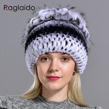 Naturale delle donne del cappello di pelliccia del coniglio del rex berretti inverno caldo lavorato a maglia floreale naturale pelliccia di volpe moda elegante cucito a mano allaperto cappello